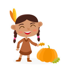 happy thanksgiving day greeting card with indian vector image