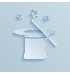 Hat of the conjurer paper icon vector