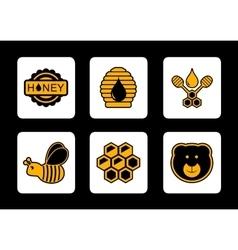 honey yellow icon on black background vector image