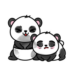 Isolated cute two panda bears vector