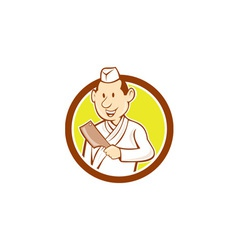 Japanese Chef Cook Meat Cleaver Circle Cartoon vector