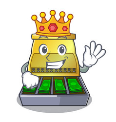 King cartoon cash register with a money drawer vector