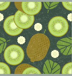 kiwi seamless pattern leaves flowers vector image