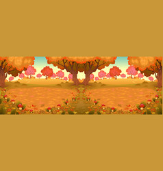 landscape in the wood with mushrooms vector image