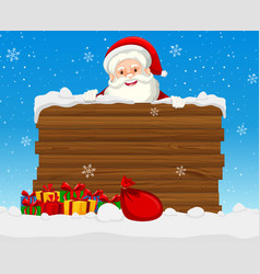 large wooden sign with santa vector image