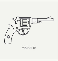 Line flat plain military icon revolver vector