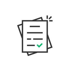 Linear report like paperwork logo vector