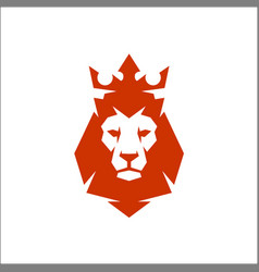 lion head logo with crown lion king vector image