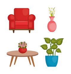 Living room set icons vector