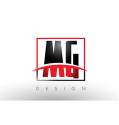 mg m g logo letters with red and black colors and vector image