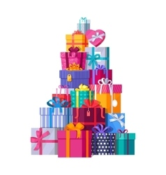 Mountain of Colorful Gift Boxes on White vector image