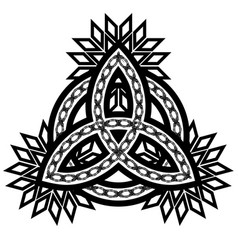 Ornamented contour black and white celtic pagan vector