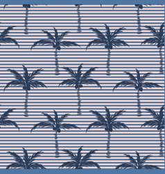 Palm trees blue striped on pink retro style vector