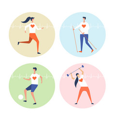 People are engaged in cardio exercises set vector