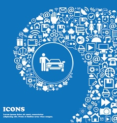 Person up hailing a taxi icon Nice set of vector