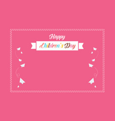Pink background cute for children day vector