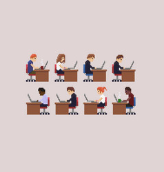 Pixel art office vector