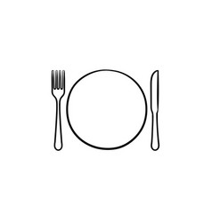 plate with fork and knife hand drawn sketch icon vector image