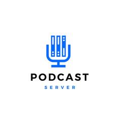 podcast mic server memory logo icon vector image