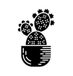Prickly pear cactus in pot glyph icon vector
