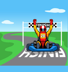 Racer passing finish line vector