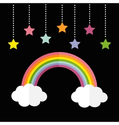Rainbow and two white clouds Colorful stars vector image