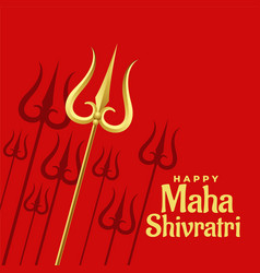 red background with golden trishul design vector image