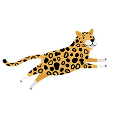 running cartoon leopard icon vector image