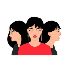 sad woman faces cry worried stressed brunette vector image