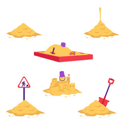Sand heap set - various piles vector