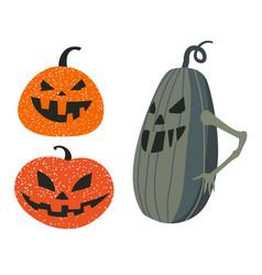 scary pumpkin or squash faces jack o lanterns vector image