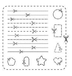 Scissors cutout line icons dashed and vector
