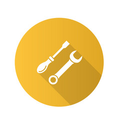 screwdriver and spanner flat design long shadow vector image
