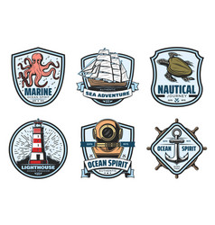 sea adventure vintage label for nautical heraldry vector image