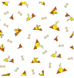 Seamless pattern from yellow dog burrowing nora vector