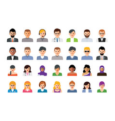 set colorful people icons vector image