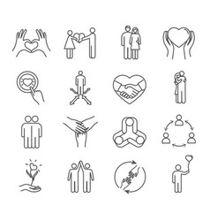 set friendship and love icons vector image