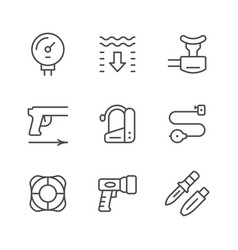 Set line icons of diving vector