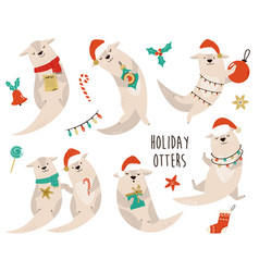 Set of funny and cute christmas otters in winter vector