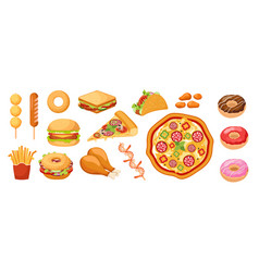 set of icons fastfood takeaway food french fries vector image