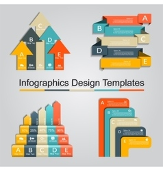 Set of infographics design template with 5 options vector image