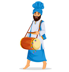 Sikh man with decorated drum vector