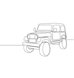 single line drawing of 4x4 speed wrangler jeep vector image