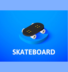 Skateboard isometric icon isolated on color vector