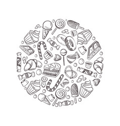 sketch doodle sweets candy ice cream vector image