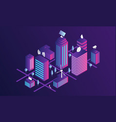 smart city concept banner isometric style vector image