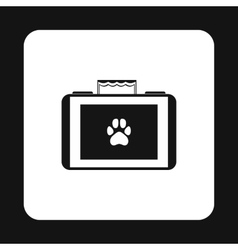 Suitcase for animals icon simple style vector image