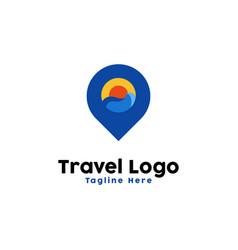 sunset point logo design inspiration vector image