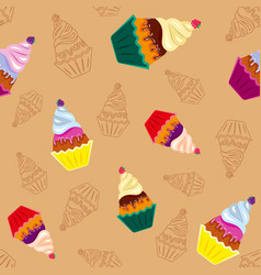 sweet tasty cupcakes vector image