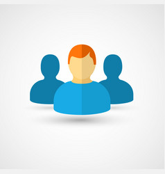 Three people flat icon vector
